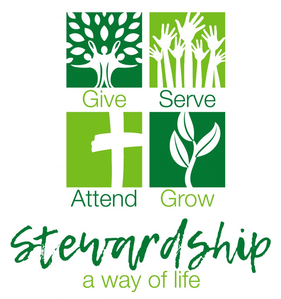 stewardship logo with tree, hands, cross and leaves