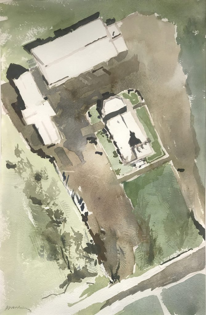 watercolor of norfield campus